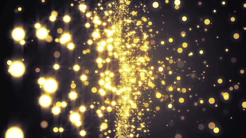 Gold Bokeh Circles And Stars Computer Generated Loopable