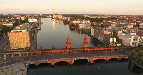 Oberbaum Bridge in Berlin at evening aerial view