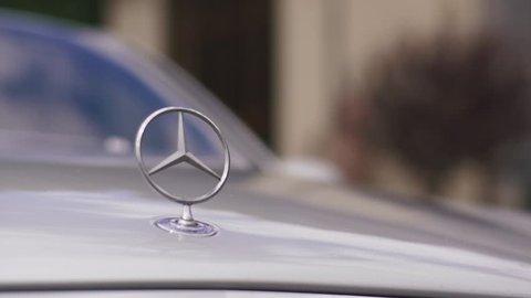Mercedes Benz logo. Mercedes-Benz is a German automobile manufacturer, a multinational division of the German manufacturer Daimler AG
