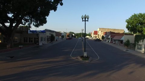 Aerial shot of a small town in Kansas