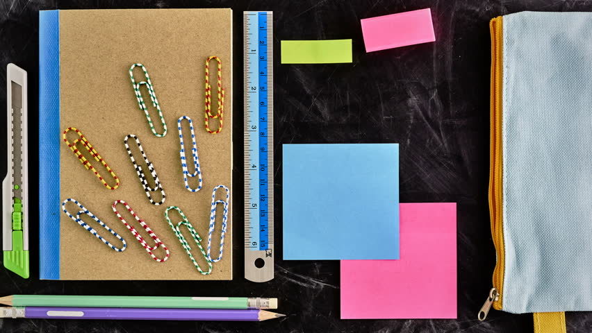 Recycled Paper Notebook and School Supplies with empty space in the end for writing on the board, Back to School Theme Stop Motion.