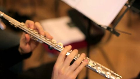 Musician plays the flute. Flutist professionally playing the flute in the orchestra.