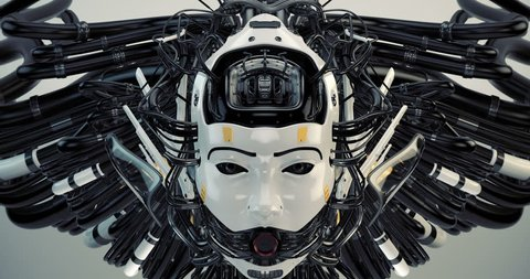 Futuristic robotic geisha girl with wired hairstyle and gap