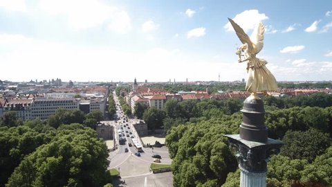 MUNICH, GERMANY - JUNI 28, 2016: Munich Angel of Peace aerial shoot in 4K.  Stock Aerial footage of Munich.
