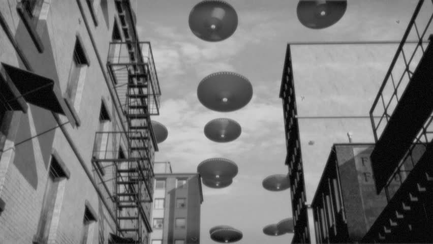 Vintage Alien Invasion: UFO Armada over Downtown 2. Black and White Version.  | Shutterstock HD Video #18090379