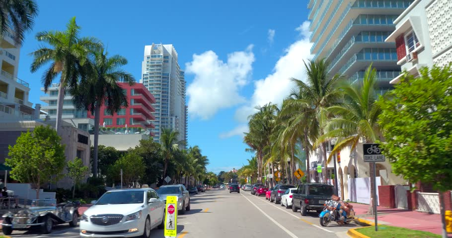 MIAMI BEACH - JULY 17: Motion video touring Miami Beach on Ocean Drive south of 5th Street which is an upscale residential residential neighborhood July 17, 2016 in Miami FL, USA