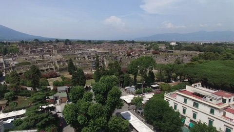 Aerial View of Ruins of Pompei, Italy