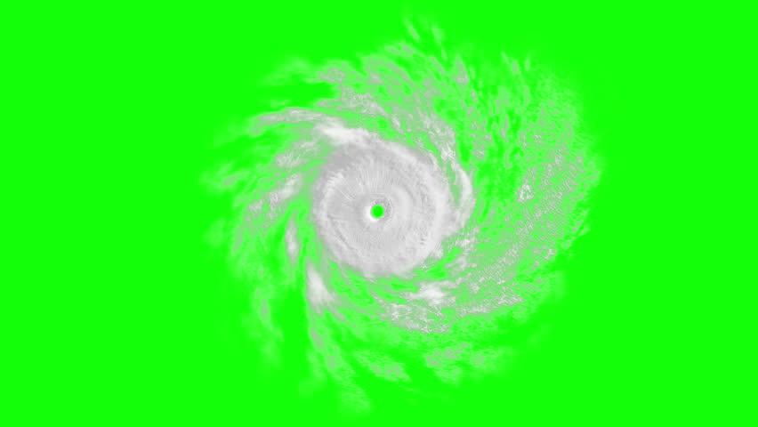 Tropical cyclone on green screen, CG animation