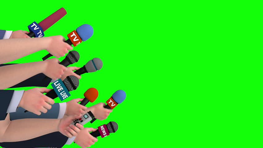 Journalist interview with microphones, side view, 3D animation, green screen #18104869
