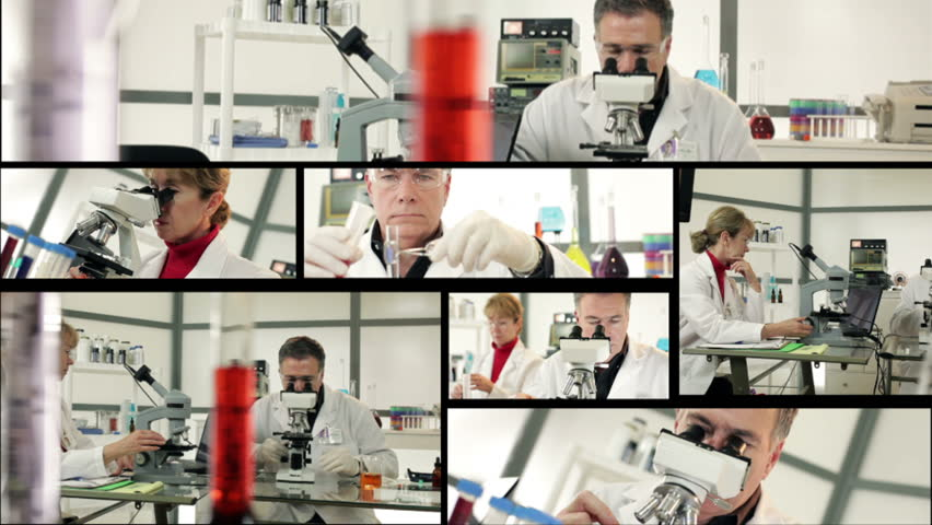 A series of laboratory or chemistry lab scenes arranged in a montage.