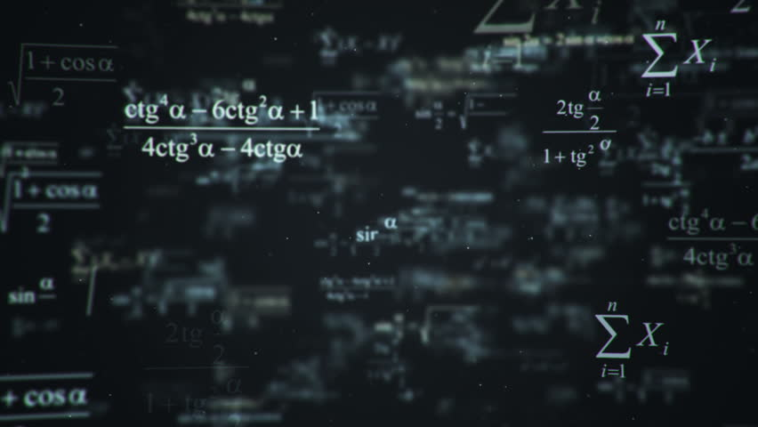 Animation of typing mathematics and physics formulas in abstract digital space. Animation of seamless loop.