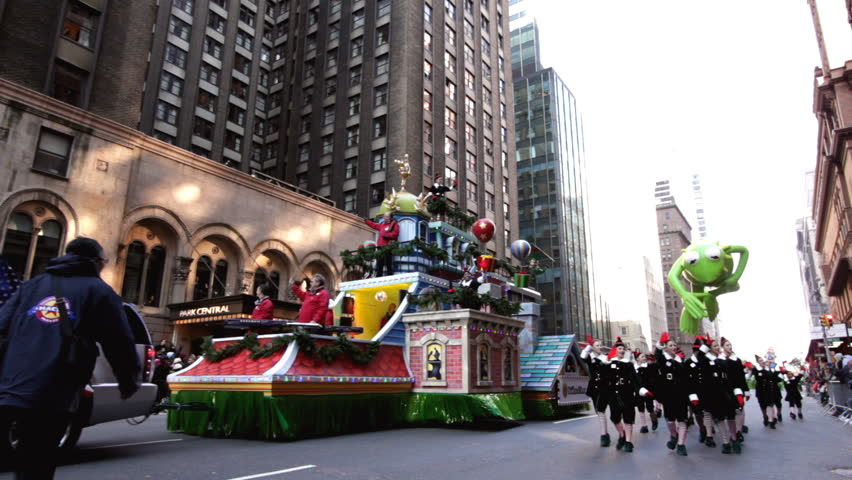 NEW YORK CITY, NY - NOVEMBER 24: Office Max Float and Kermit balloon in the Macy's 85th Annual Thanksgiving Day Parade on November 24, 2011 in New York City, New York.