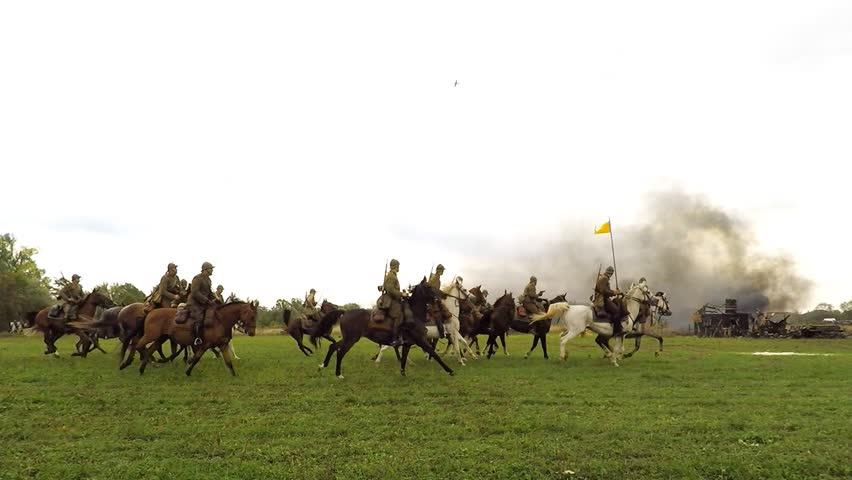 LOMIANKI, POLAND - SEPTEMBER 20, 2015. Historical reconstruction of Battle of Lomianki that took place at the begining of WWII. Polish cavalry #18181939