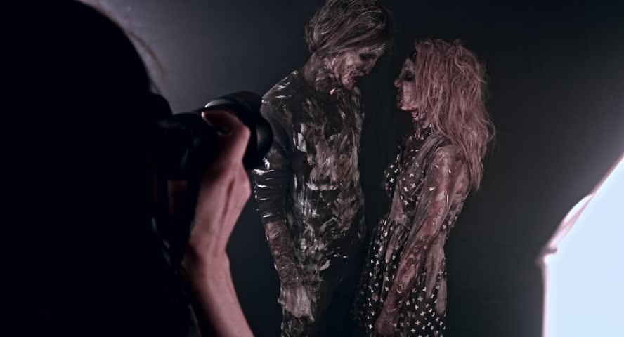 Romantic zombies. Horror photo shoot.   Shutterstock HD Video #18197029