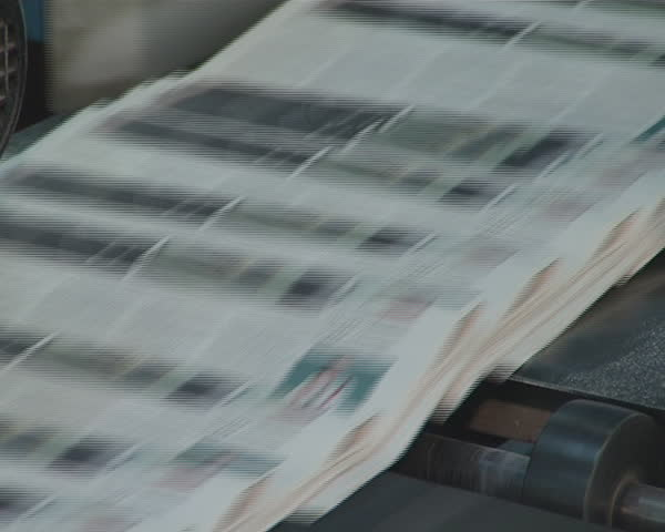 Newspapers printing technology. Machine printing daily press. Produce paper press.