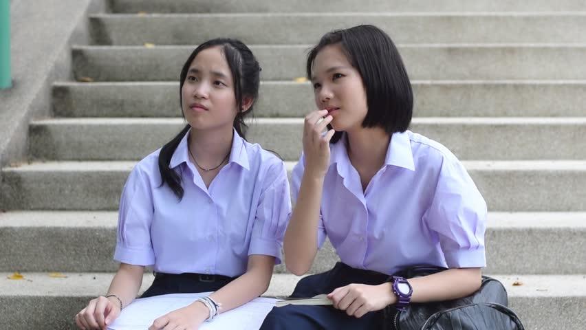 Cute Asian Thai High Schoolgirls Student Couple In School -4439
