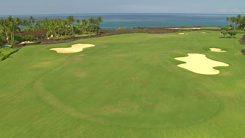 Aerial of golf course at Hualalai, Hawaii