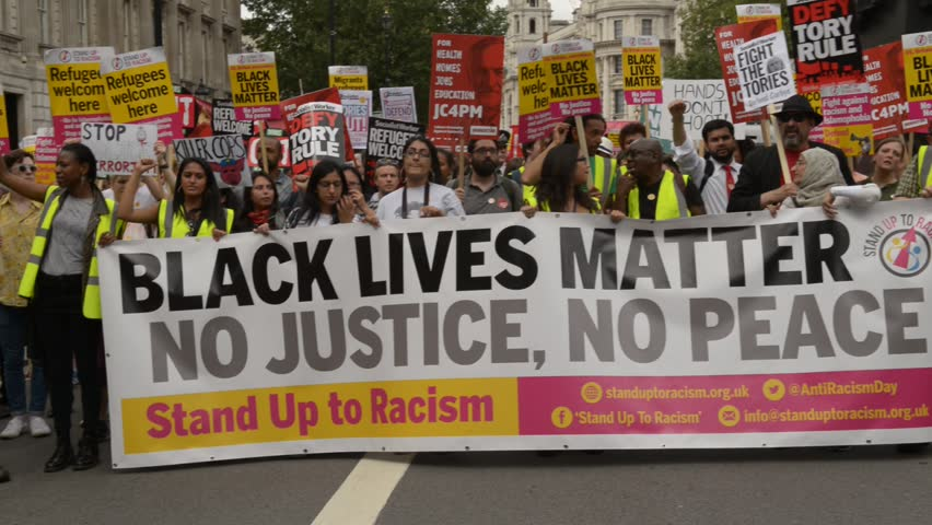 London, UK. 16th July 2016. EDITORIAL - Black Lives Matter / Stand Up To Racism protest rally - Thousands attended the march through London, in protest of recent killings of black men by U.S. police.