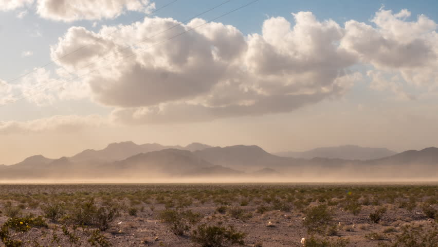 4k Sand Storm time lapse in Southern California Desert Stock Video footage Clip