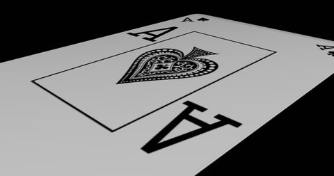 Ace of spades playing card gyrating 360 degree on black background