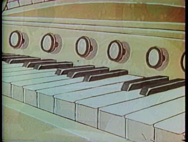 Cartoon of rear view of man playing the organ