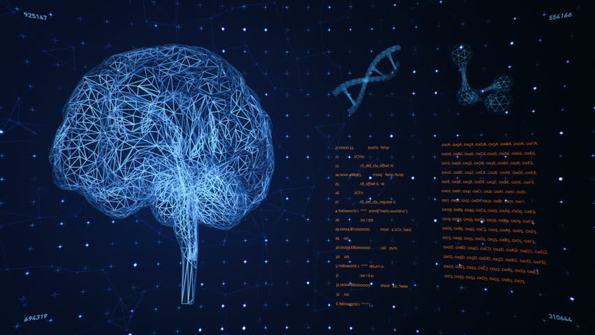 Background with animation of abstract interface. Human body, head, hands, brain, DNA spirals and models of atom in wireframe style and animation programming codes. Animation of seamless loop. | Shutterstock HD Video #18358279