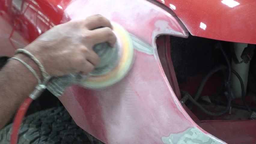 4K Garage Car body work car auto car repair car paint after the accident during the spraying automotive
