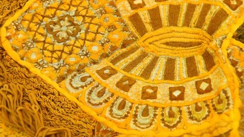Details of yellow Rajasthani wedding sari , rotating