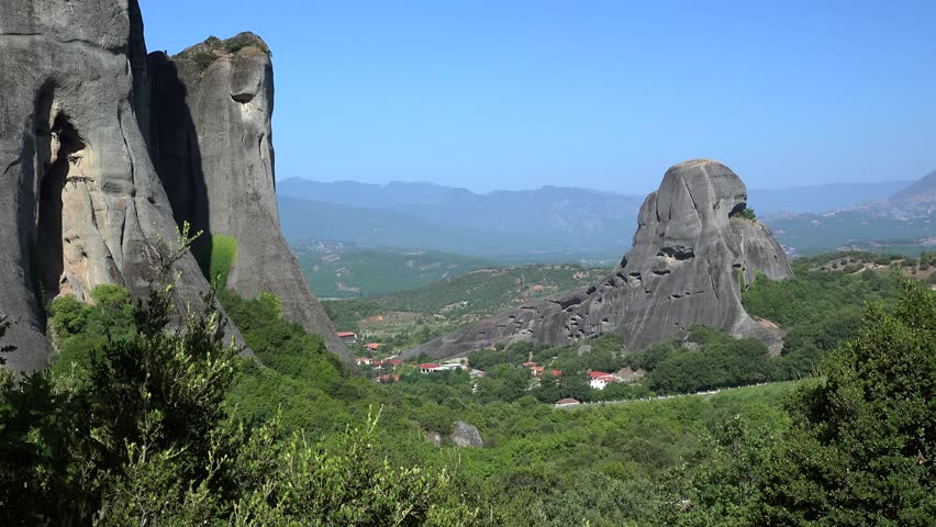 Meteora monolithic mount formations with the Kastraki village at the foot. Greece