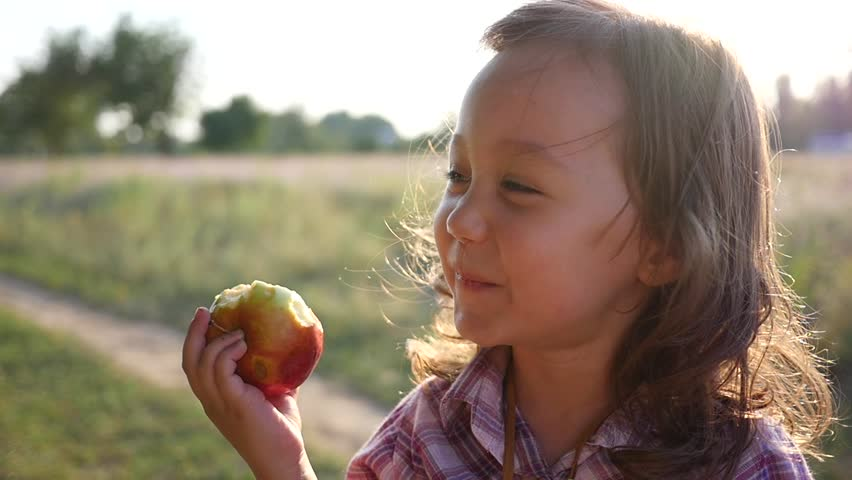 Cute little child girl portrait eating apple fruit on nature sunset light haze
