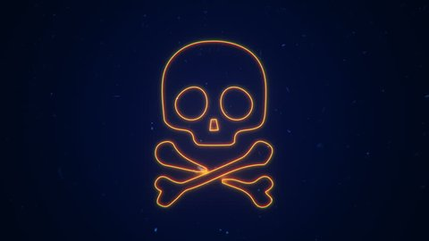 Animation of fire or flow energy from skull symbol. Animation of seamless loop.