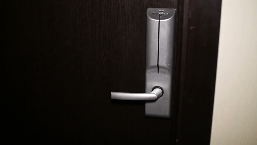 Man opening door with keyless entry card - HD stock video clip
