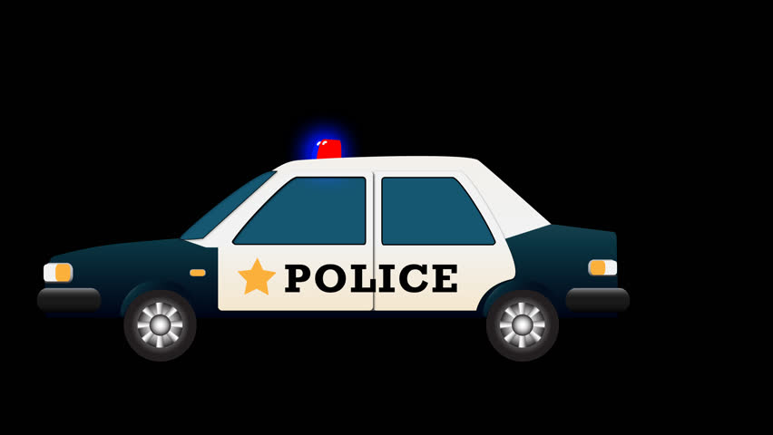 Cartoon Police Car With Red And Blue Flashing Lights Looped Animation With  Alpha Channel