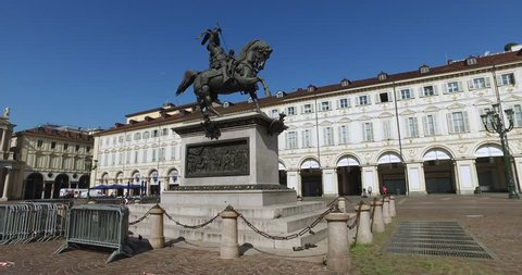 TURIN, ITALY JUNE 25, 2016: The equestrian statue of Emmanuel Philibert, Duke of Savoy, by Carlo Marochetti (1838) located in Piazza San Carlo, one of the main city squares in Turin.