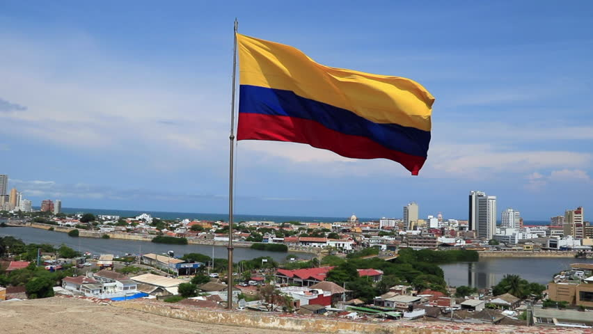 Colombian Flag over city of Cartagena, Colombia