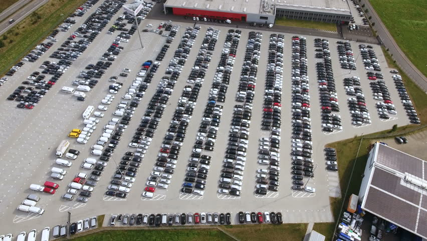fernwald steinbach germany july 28 2016 aerial view of large car park auto expo auto expo. Black Bedroom Furniture Sets. Home Design Ideas