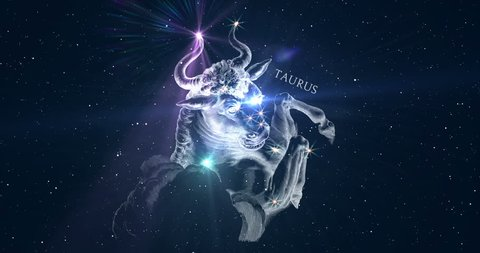 Taurus. Zodiac sign. Horoscope. Space flight through the constellation. The constellation image of Hevelius engraving from the 17th century. Animation in two versions: with and without inscription.