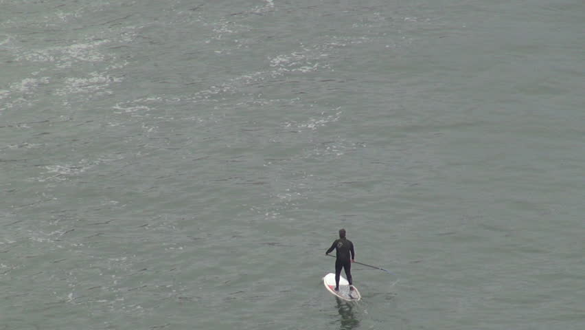 SAN FRANCISCO - USA, APRIL 10, 2013, Aerial view of surfer man practice wealthy sport in sea wave | Shutterstock HD Video #18546149