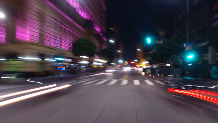 Hyperlapsed view from a car at night. POV. Downtown, Los Angeles, United States. Perfect to represent concepts as autonomous driving, futuristic cityscape, city life, etc.   | Shutterstock HD Video #18561773