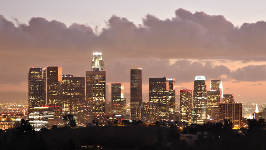 Time Lapse of the Los Angeles skyline at twilight. | Shutterstock HD Video #18563939