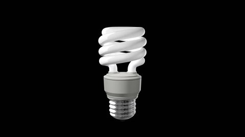 Loopable and Keyable animation of a Compact Fluorescent Light Bulb spinning. View my portfolio for more light bulb videos.