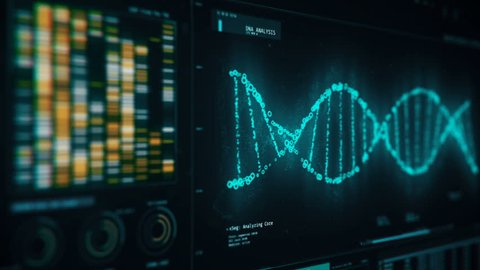 DNA chain rotating on screen, forensic analysis of structure, genetic research. DNA molecules analysis, biochemistry, statistics in graphs and charts