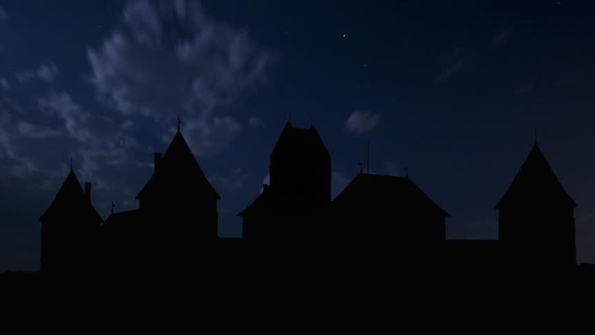 Lithuania Trakai castle night storm. Trakai Island Castle is an island castle located in Trakai, Lithuania on an island in Lake GalvÄ?.   | Shutterstock HD Video #1860484