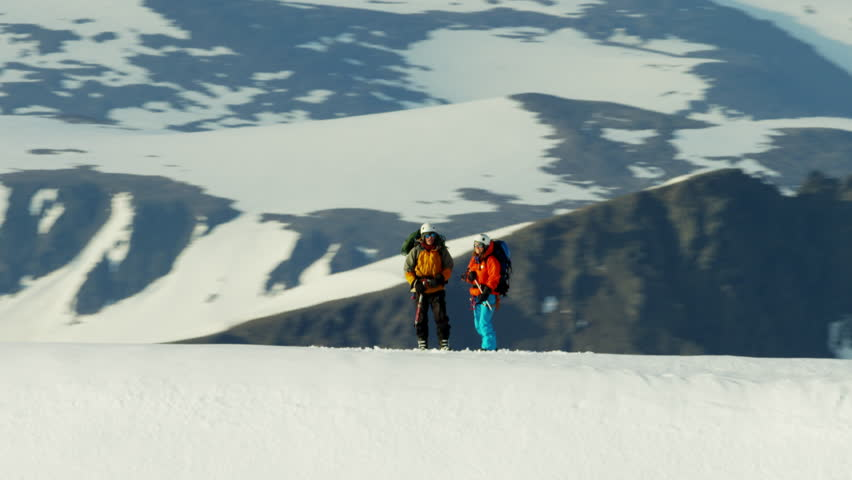 Aerial view of male and female mountain climbers in Alaska America | Shutterstock HD Video #18612098