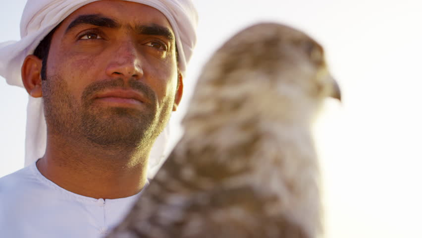 Arabic man with trained bird of prey standing on desert sands