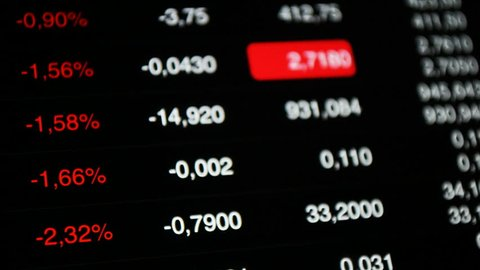 Stock or Forex market down, abstract. Tickers at the screen, negative value of stock indicies.