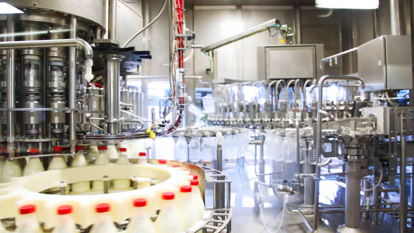 lots of empty plastic bottles washed and left appear already filled milk at huge factory, wide view