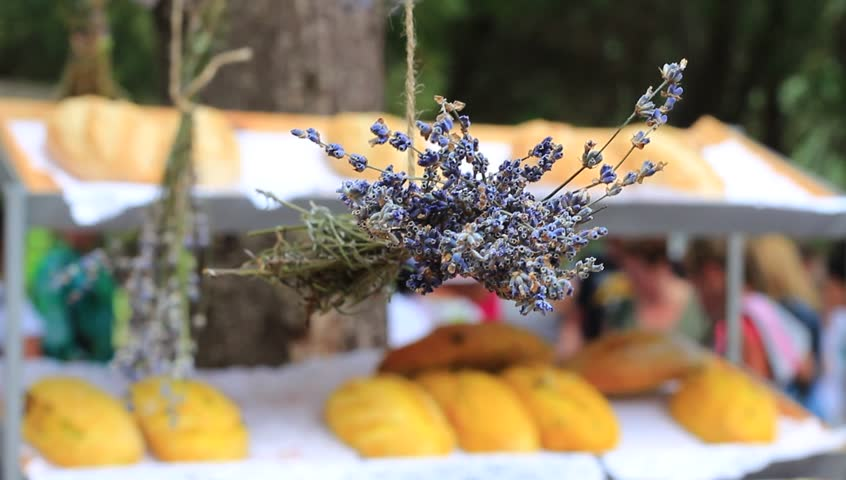Lavender Festival Street Fair. A fresh loaves of local breads at open-air food market