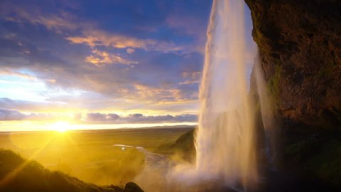 Seljalandfoss waterfall in summer sunset, Iceland