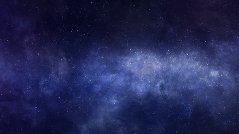 Space background. Camera is flying through the blue and magenta coloured nebula. The stars are everywhere around. Looped video.